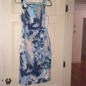 Covington Boat Bodycon Floral Midi Dress with belt